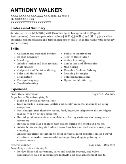 Front Desk Supervisor resume sample Texas