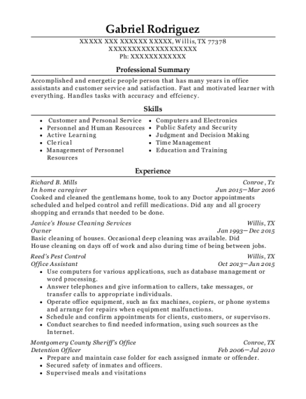 In home caregiver resume template Texas