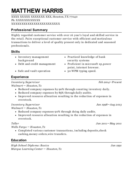 rgis inventory specialists inventory supervisor resume