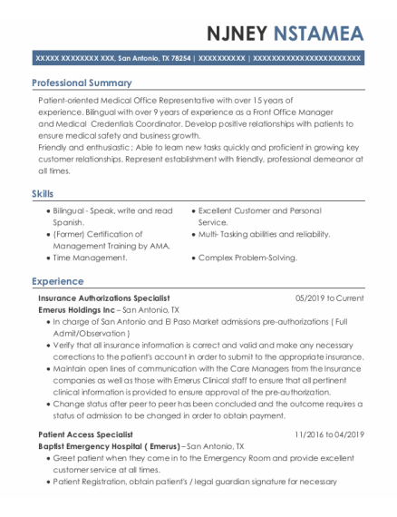 Front Office Manager & Credentials Coordinator resume template Texas
