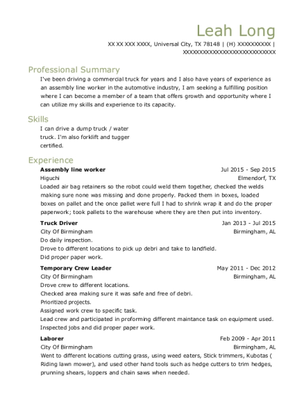 Assembly Line Worker resume sample Texas
