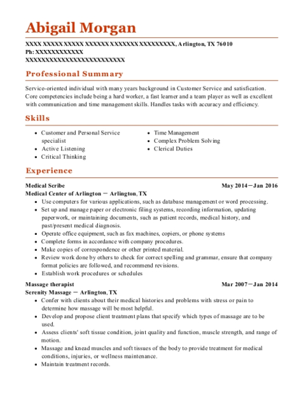 Medical Scribe resume format Texas