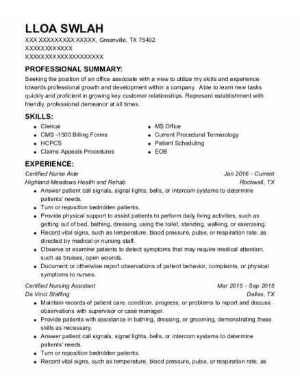 Certified Nurse Aide resume format Texas