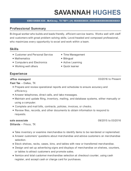 office managent resume template Texas