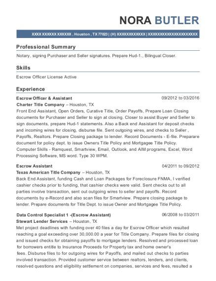 Escrow Officer & Assistant resume template Texas
