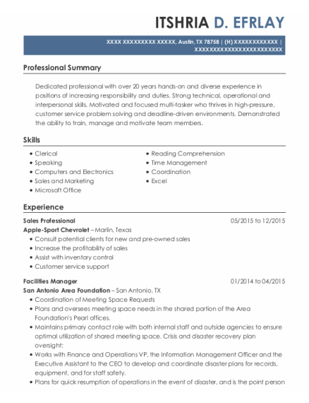 Sales Professional resume sample Texas