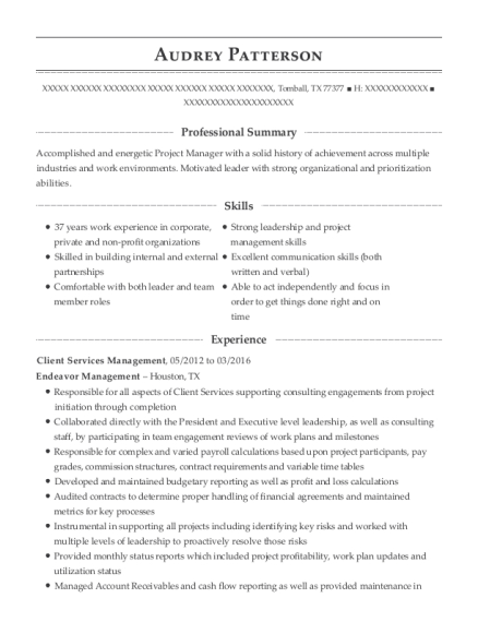 Client Services Management resume sample Texas