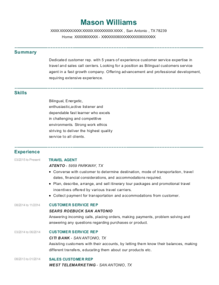 Travel Agent resume template Texas