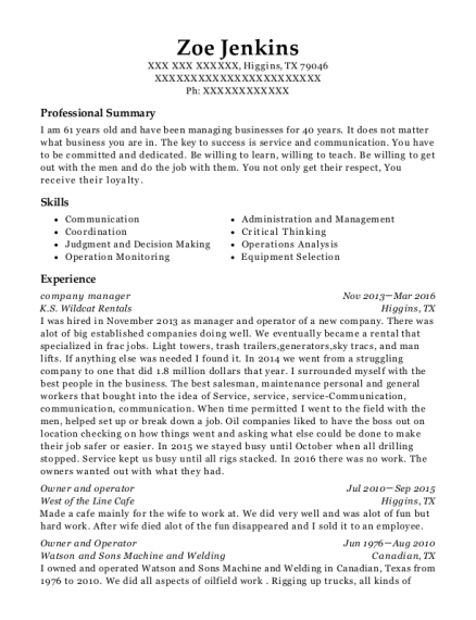company manager resume sample Texas