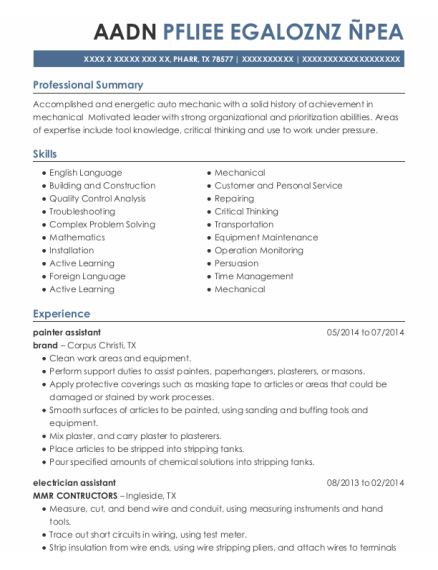 painter assistant resume format Texas