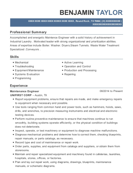 Maintenance Engineer resume example Texas