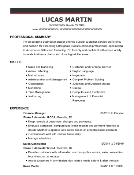 Finance Manager resume format Texas