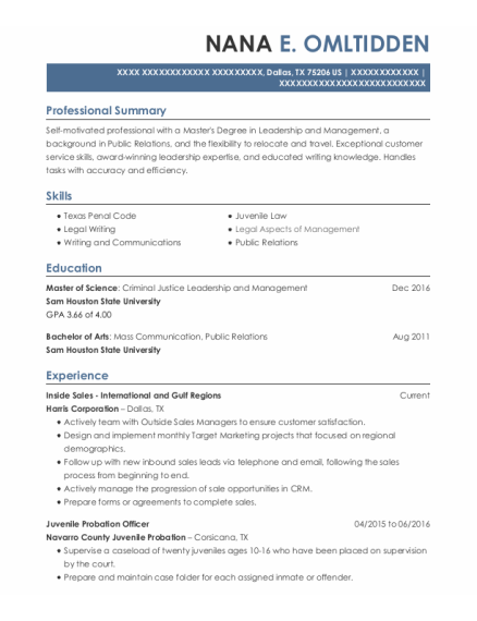 Juvenile Probation Officer resume sample Texas