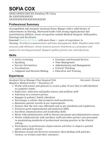 Assistant Nurse Manager Post Surgical Unit resume example Texas