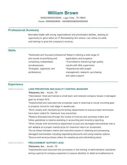LOSS PREVENTION AND QUALITY CONTROL MANAGER resume sample Texas