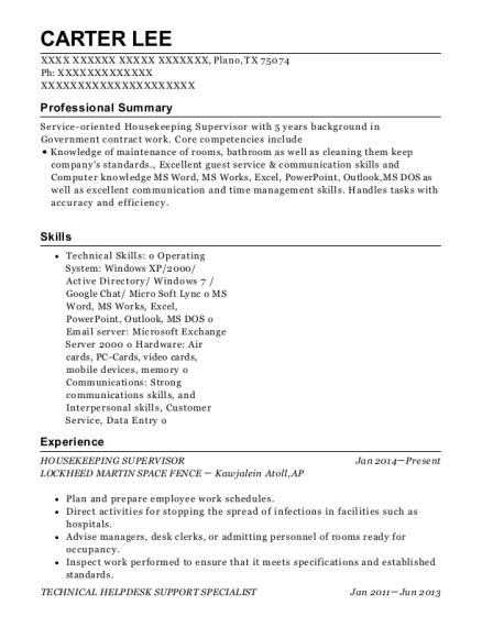 Housekeeping Supervisor resume example Texas