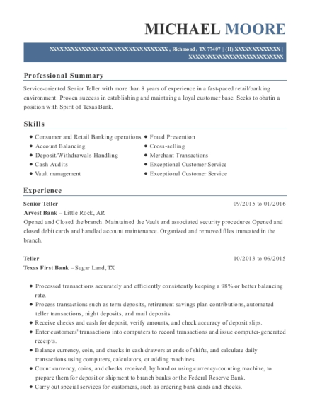 Senior Teller resume format Texas