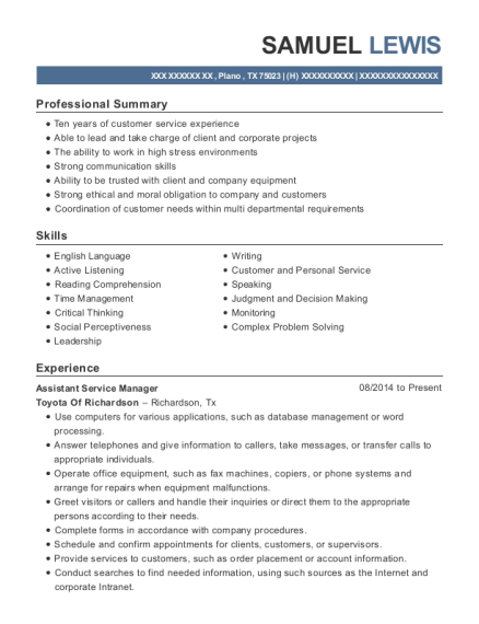 Assistant Service Manager resume format Texas