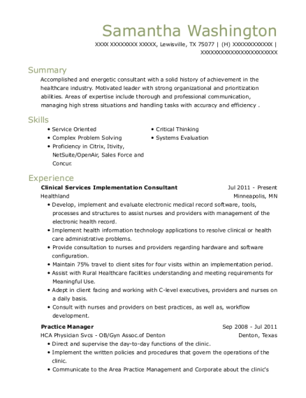 Clinical Services Implementation Consultant resume example Texas
