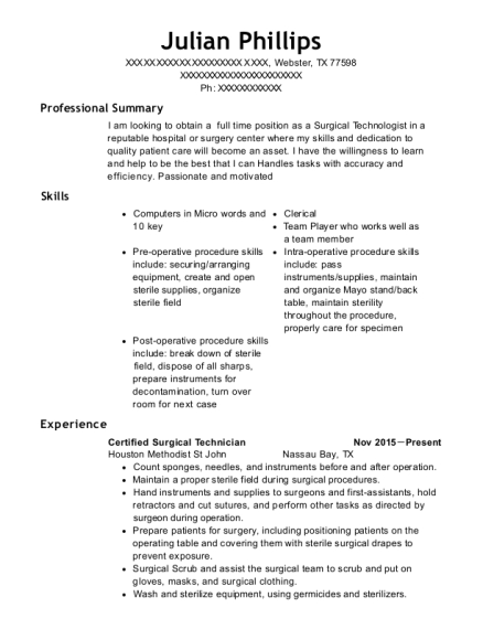 Certified Surgical Technician resume sample Texas