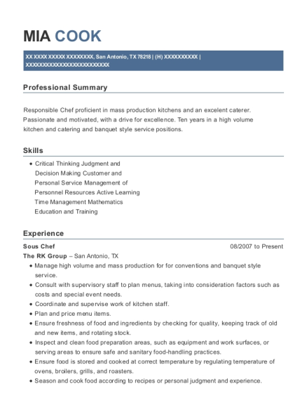 Sous Chef resume template Texas