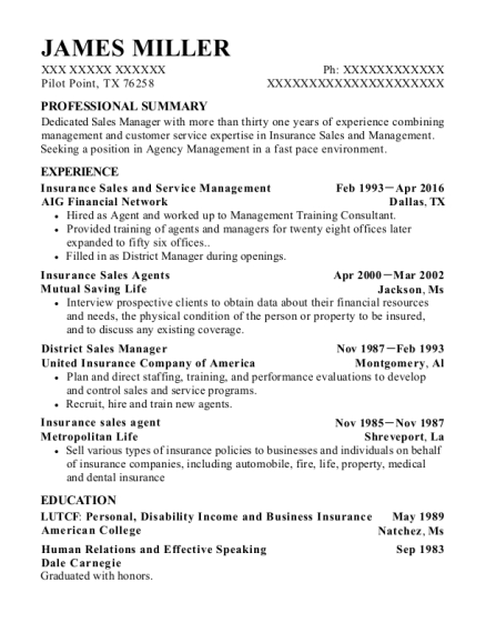 Insurance Sales and Service Management resume template Texas