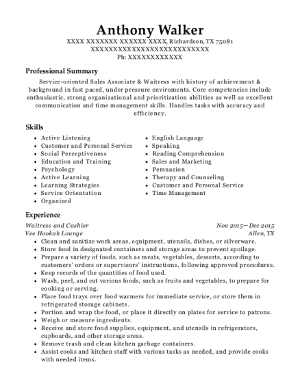 Waitress and Cashier resume format Texas