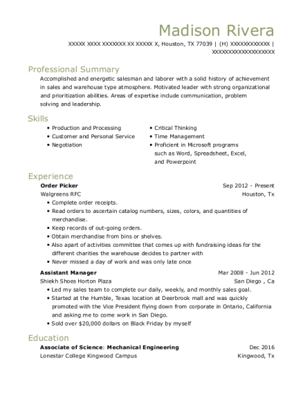 Order Picker resume format Texas
