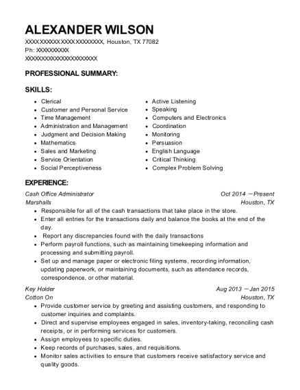 Cash Office Administrator resume template Texas
