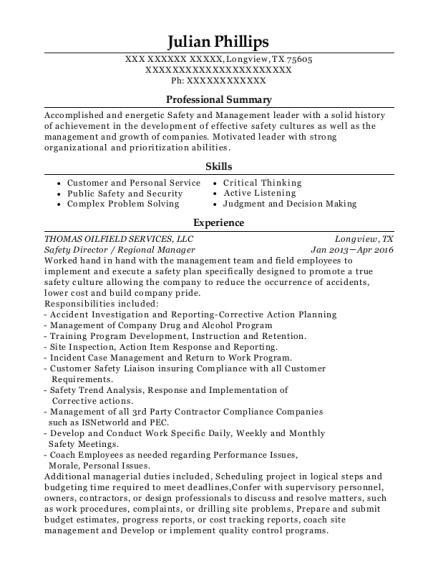 Safety Director resume template Texas