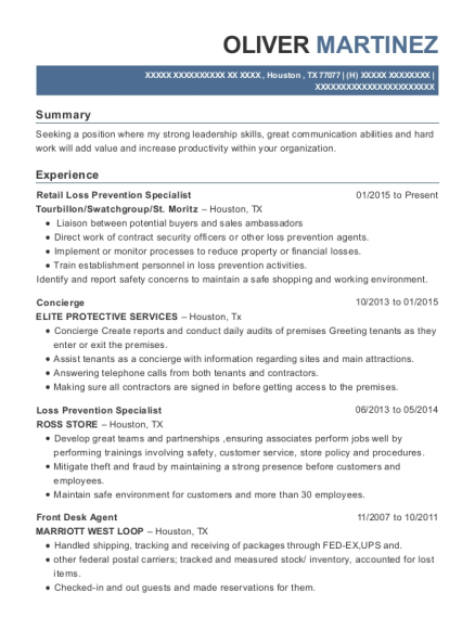 Retail Loss Prevention Specialist resume format Texas