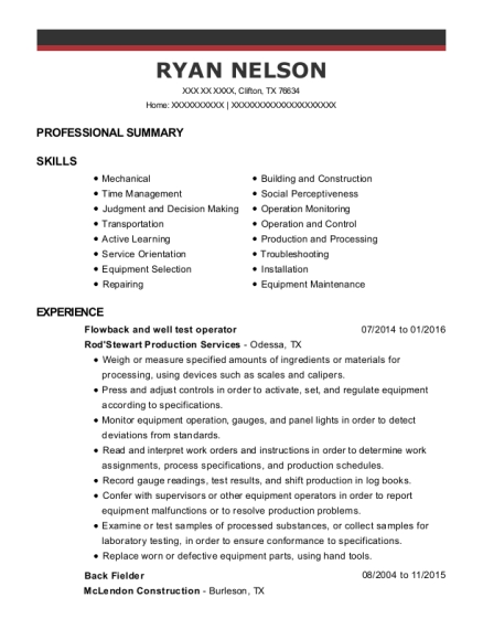 rp services well test operator resume sample