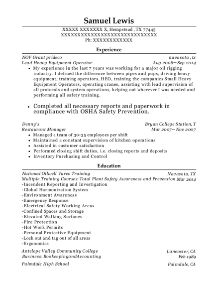 Lead Heavy Equipment Operator resume sample Texas