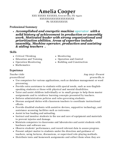 Teacher Aide resume template Texas