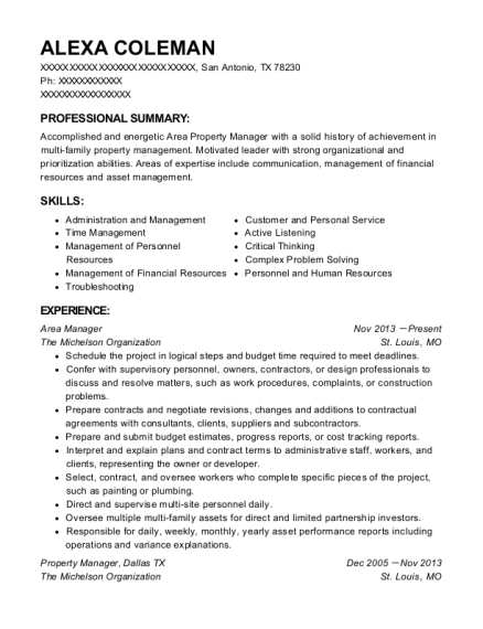 Area Manager resume example Texas