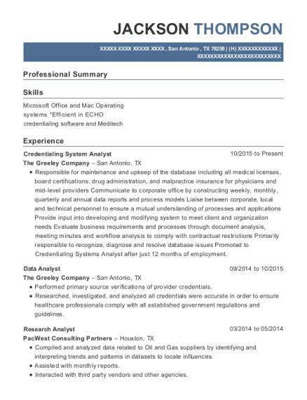Credentialing System Analyst resume template Texas