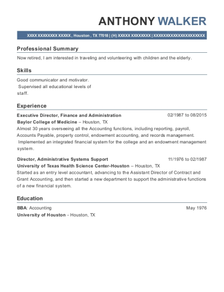 Executive Director resume example Texas