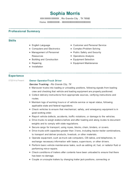Owner Operator resume format Texas