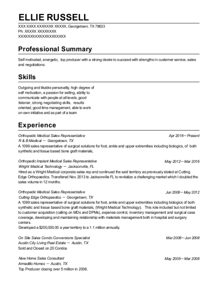 Orthopedic Medical Sales Representative resume sample Texas