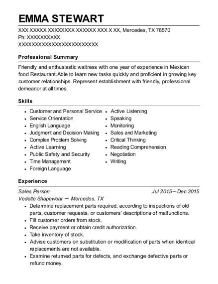Sales Person resume format Texas