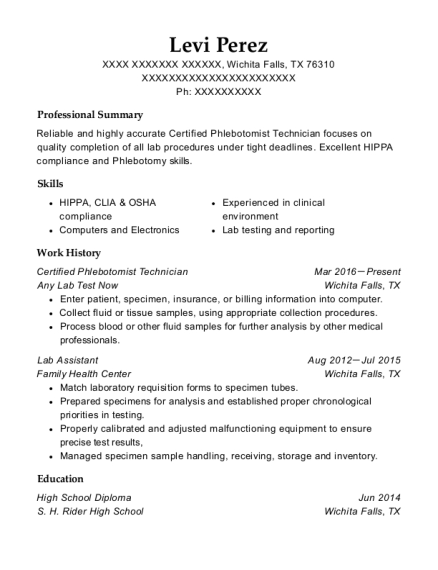 Certified Phlebotomist Technician resume template Texas