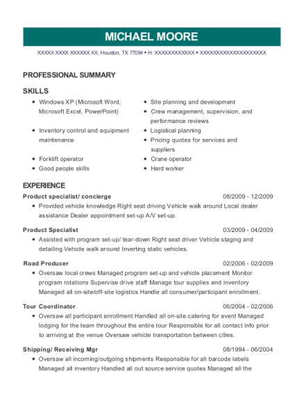 Product specialist resume example Texas