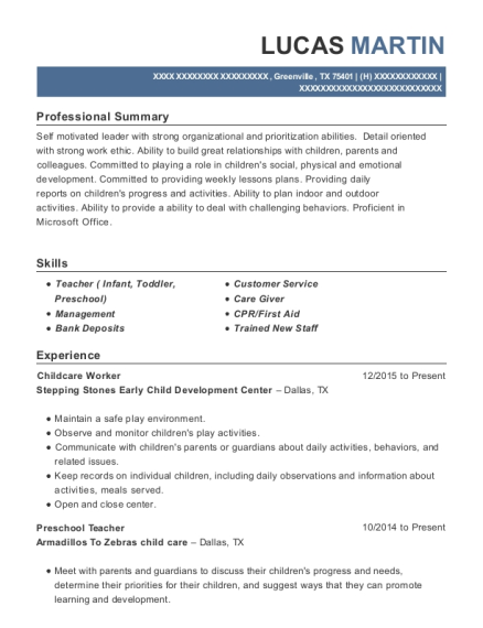 Childcare Worker resume template Texas