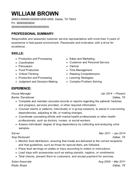 House Manager resume example Texas