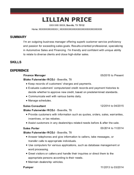 Finance Manager resume template Texas