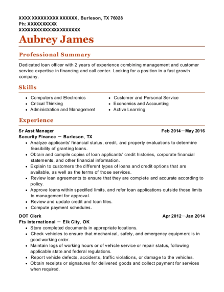 Sr Asst Manager resume example Texas