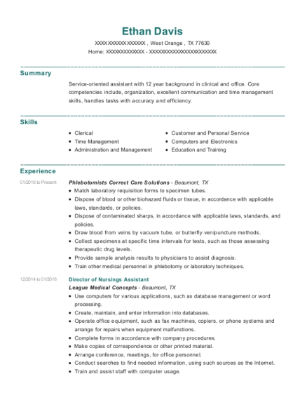 Director of Nursings Assistant resume example Texas