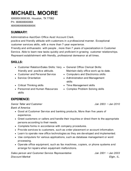 Senior Teller and Customer resume example Texas