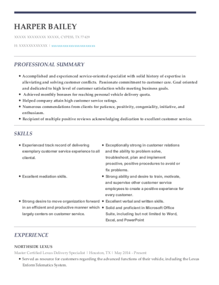Master Certified Lexus Delivery Specialist resume format Texas