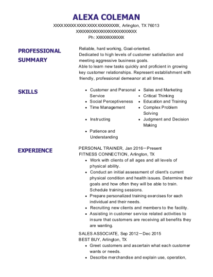 Personal Trainer resume format Texas